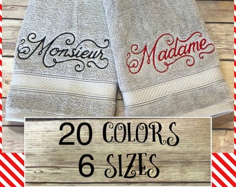 His and hers towels, 20 colors, 6 sizes, august ave, wedding, wedding gift, bath towels, monsieur, madame, towel, pairs, Parisian, French