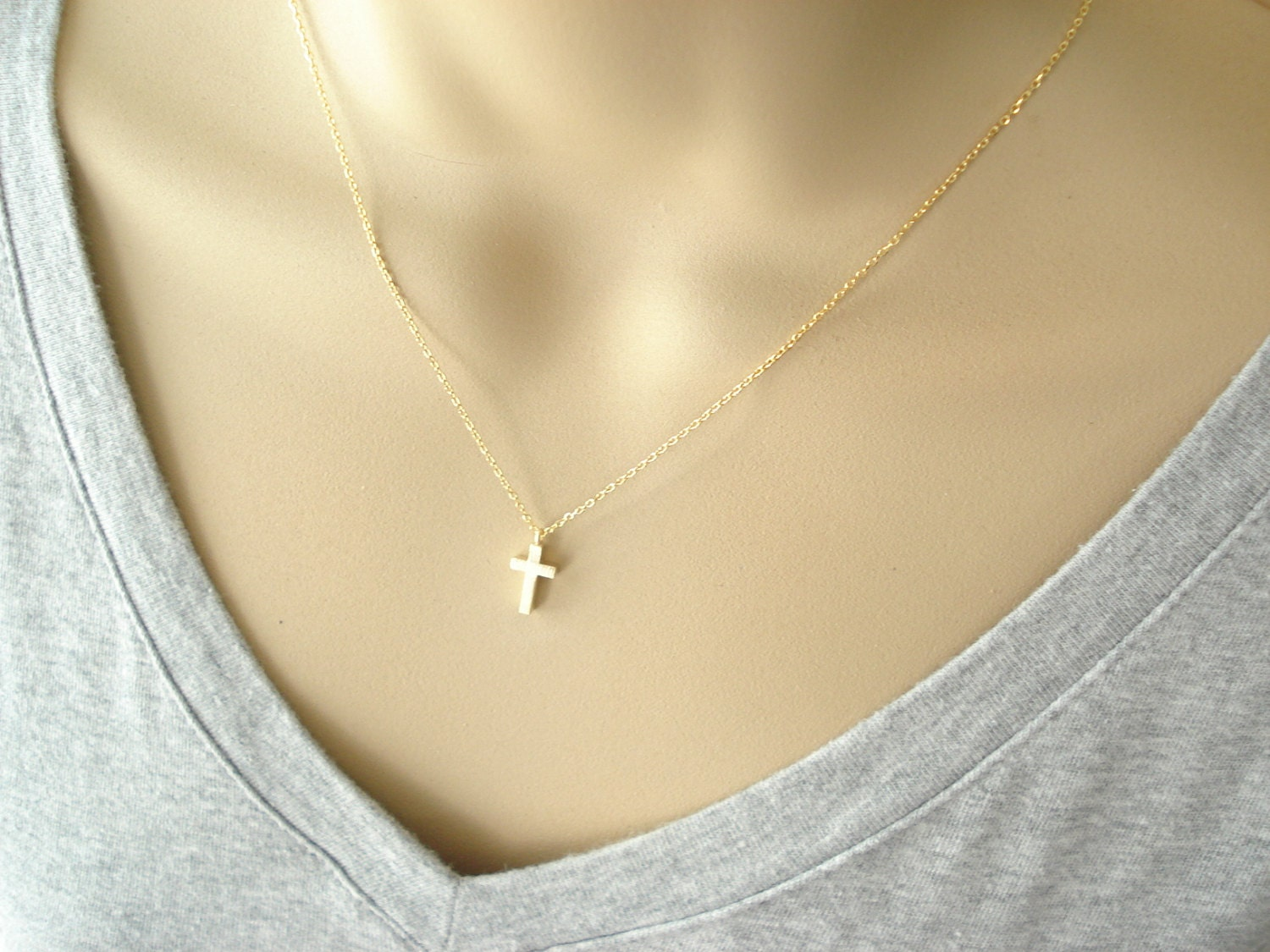 Tiny gold cross necklacesimple everyday wear bridal