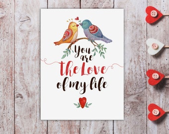 Cute Anniversary Card for Him Cute Love Card for Husband Watercolor Anniversary Card Printable Love Of My Life Cute Bird Wedding Anniversary