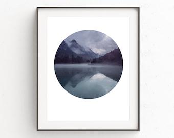 Blue Wall Art, Instant Download, Printable Art, Digital Download Art, Mountain Print, Mountain Art, Geometric Print, Digital Prints, Poster