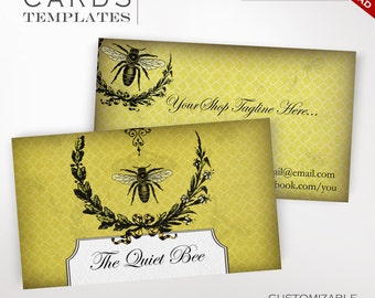Bee Apiary Business Cards - Customizable Vintage Honey Design - Beeswax Candle Vintage Honey Bee Ephemera Honeybee Apiary Honeycomb