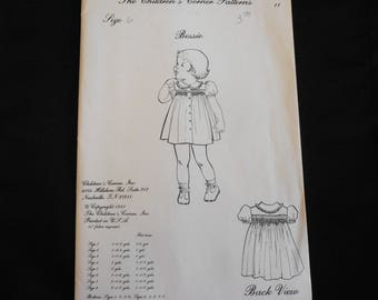 Children's Corner pattern #11 Bessie size 6 Sewing Pattern Girl Dress Front Opening Smocked Dress Vintage 1981 OOP Heirloom Smocking Uncut