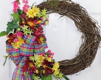 Spring Floral Grapevine Wreath, Floral Grapevine Wreath, Spring Grapevine Wreath, Grapevine Floral Wreath