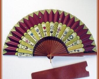 Hand held fan spanish hand painted  fan, wooden foolding hand fan, burgundy fan with leather case, engagement handfan, wedding fan.
