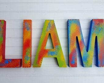 Kids Name Letters - Primary Colors - Nursery Letters - Boy Name Letters - Girl Name Letters - Rustic Block Font - Vintage Kids Room