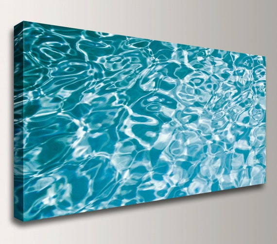 "Abstract Color Photography Water Photo Panorama Canvas Print  Panoramic Photo Aqua Teal Blue Decor "" Ripples """