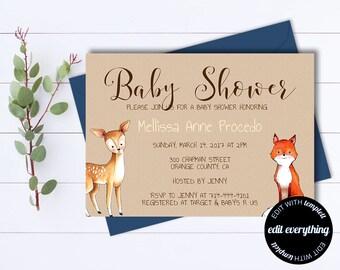 Kraft Baby Shower Invitation Template Gender Neutral Baby Shower Template Instant Download Baby Shower Invite Baby Boy or Baby Girl