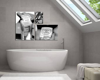 Chanel Bathroom Set/Chanel Black And White Photography/large Canvas Art/ Chanel Print
