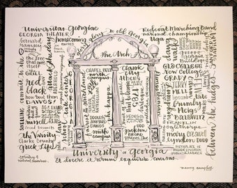 University of Georgia Arch words print from hand-lettered original National championship go dogs Sanford Stadium glory glory to old Georgia