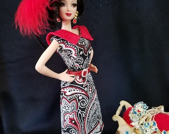 Vintage Inspired Red/Black Fashion Couture Dress Ensemble for Barbie and Friends