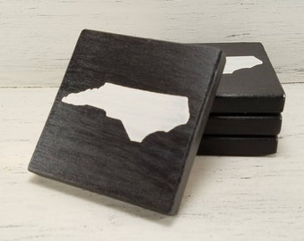 Any State, Pick Colors, Custom Wooden State Coasters, Set of 4, Wedding, Housewarming, North Carolina