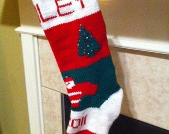Personalized Handmade Knitted Christmas Stocking *Wool Available* - Trees & Santa with Year