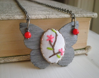 Embroidered Necklace - Pink Flowers Silver Butterfly Boho Insect Pendant, Fiber Art Floral Embroidery Necklace Butterfly Garden Jewelry Gift