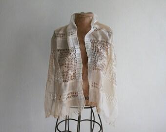 Handwoven Ivory Shawl