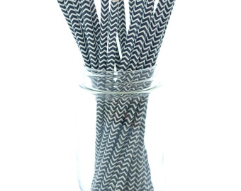 Black Party Straws, Fun Straws, Party Supplies Paper Straws, Black and White Party Straws, 25 Pack - Black Chevron Straws