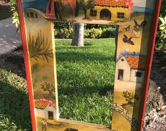 MAGIC OF MEXICO /  Mexican Wood Mirror / Incredibly Detailed Hand Painted And Signed Bottom Left On Wood