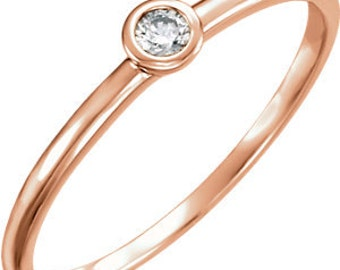 25% OFF Mini Diamond Stacking Ring, 14K Gold Promise Ring