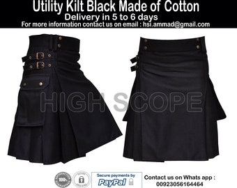 "Black Utility Kilt 30"" to 50"" Made of Cotton All Color Available  Fastest delivery in 5 to 6 days"