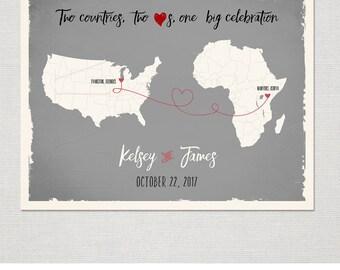 USA AFRICA Map Custom Wedding Print Destination Wedding Gift  Memento Marriage Couple print Signature Guest Books Wedding Signature Map