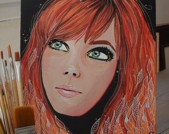 Portrait, acrylic, red, black