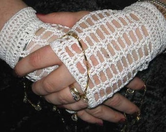Crochet Lace Fingerless Gloves in White with Vintage Buttons Steampunk Victorian