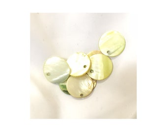 Green Mother of Pearl 18mm Flat beads