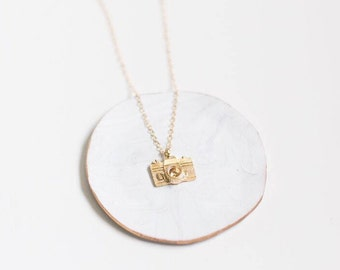 Gold Necklace, Everyday Necklace, Birthday Gift, Camera, Best Friend, Minimalist, 21st Birthday, Delicate Necklace, Gift for Her, Necklace