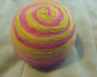 One multi-colored felted pin-cushion, Yellow and Pink