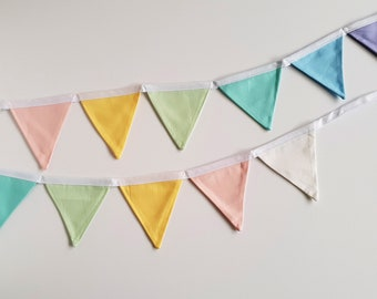 Mini Pastel Rainbow Fabric Bunting Banner Flags / Party Decoration / Photography Prop / Fabric Pennant Flags / Bunting Flags