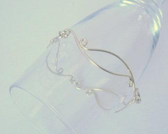 Long Scrolls Link Bracelet, Sterling Silver, Wedding Jewelry, Hand made, Delicate Lacy Jewelry