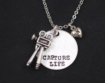 Capture Life necklace, sterling silver filled, hand stamped necklace with movie camera charm, personalized initial charm, photographer gift