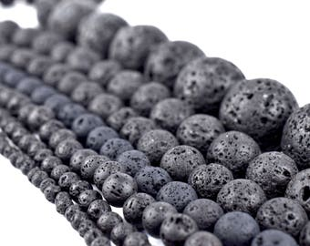 Natural Lava Beads: Black Volcanic Rock Beads 4mm 6mm 8mm 10mm 12mm 14mm Lava Rock Jewelry Beads Round Volcanic Lava Beads Wholesale