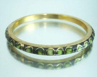 Messing emaillierten Armband grün Gold dekorative Armreif Vintage