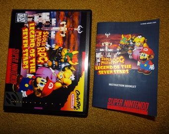 Super Nintendo Super Mario RPG Legend of the Seven Stars reprinted manual and clamshell case - see variations below