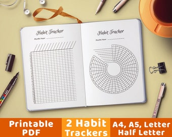 Bullet Journal Habit Trackers, Circle Habit Tracker, Habit Tracker Chart, Planner Inserts, Journal Inserts, Goal Planner, Habit Plan