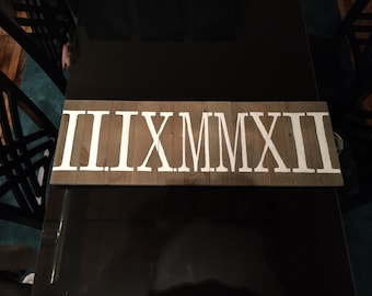 Roman numeral wood pannel painting