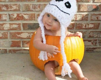 Ghost Hat - Baby Ghost Hat Halloween Costume - Baby Costume Hat - Gillie the Ghost - White Crocheted Ghost Hat - by JoJo's Bootique