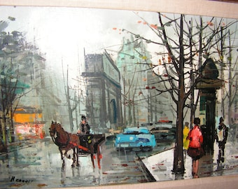 Modern vintage 50s , french original oil painting on canvas  by Renoult.