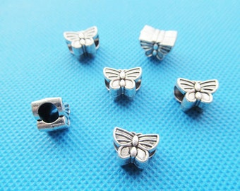 Cute Cabinet Antique Silver tone Butterfly Slider Spacer Beads Charm/Finding,for Bracelet & Necklace,DIY Accessory Jewellry
