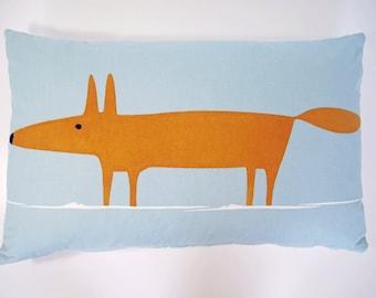 Mr Fox Retro Cushion cover - Blue & Tangerine