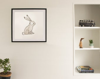 Original Personalized Ink Drawing - Hare Illustration