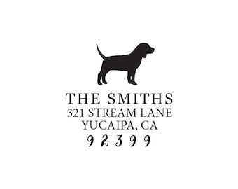 Personalized Custom Return Address Rubber Stamp or Self Inking Stamp Beagle Hound Dog Stationery Stamp Home Sweet Home