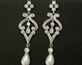 Bridal Pearl Crystal Earrings, Crystal Bridal Earrings, Crystal Pearl Bridal Earrings