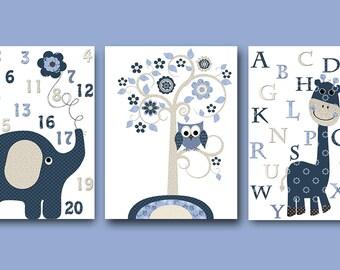 Navy Blue Beige Alphabet Elephant Art Stickers Print Canvas Wall Art Children Wall Art Baby Boy Nursery Art Print Nursery Decor Boy set of 3