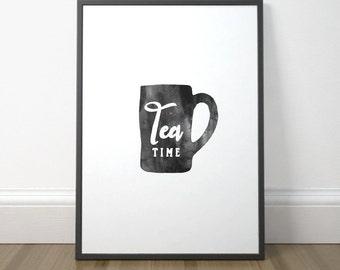 Black and White Kitchen Print, Tea Kitchen Art, Printable Kitchen Sign, Tea Poster, Rustic Kitchen Wall Art, Instant Download, Digital Print
