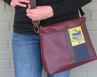 Large Vegan Leather Crossbody Bag - Charley Harper Bird Architect Fabric - Charlie Harper Gift