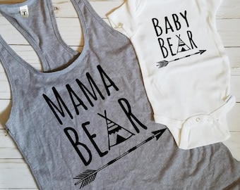 Mama Bear + Baby Bear Combo Set - Mommy and Me - Bear Family - Matching Outfit