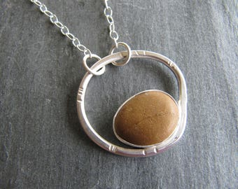 Beach Pebble and Sterling Silver Pendant