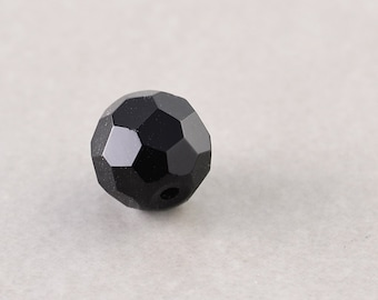Black Onyx Bead, 10mm Faceted Round, Stone Beads, One