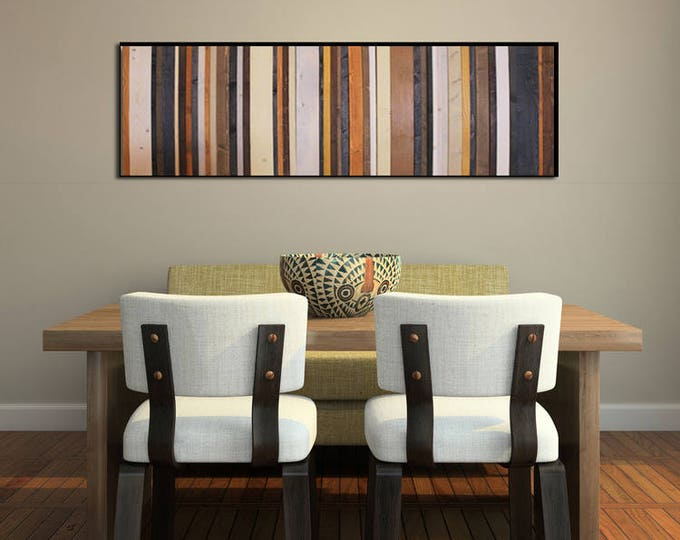 Stormy Sky - Reclaimed Wood Wall Art in Browns, Navy, Cream and Gray - Modern Wood Wall Art, Abstract Art, Minimalist Art
